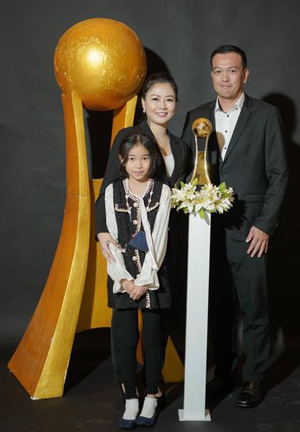 Family with trophy